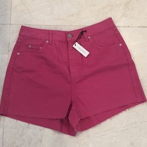 TOPSHOP Moto Mom Pink Shorts Size 8 NEW